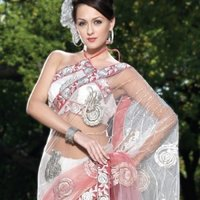 Zari Embroidered Shaded Off White And Pink Saree