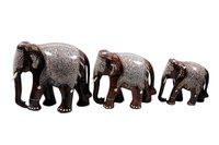 Wooden Inlaid Elephants