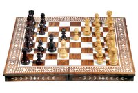 Wooden Inlaid Chess Box Natural with Coins Folding