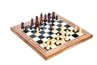Wooden Inlaid Chess Box Black And White With Chessmen Folding