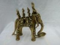 Tribals On Elephant Brass Idol
