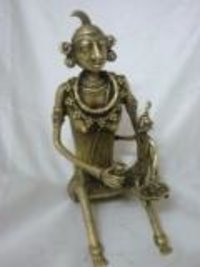 Tribal Lady With Child Brass Statue