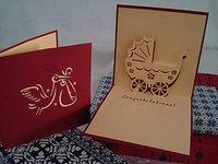 Chirstening Pram Handmade 3D Pop Up Greeting Card
