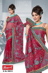 9083 D Beautiful Embroidery Works Sarees