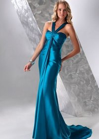 One-piece Deep Blue Bridesmaid Evening Dress