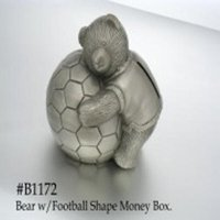 Bear W/Football Shape Money Box
