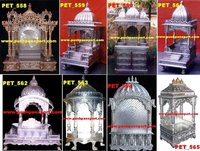 White Metal Carved Pooja Mandir