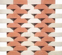 3D Agra Red and Mint Mosaic D Pattern
