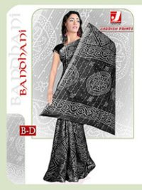 Cotton Bandhani Printed Sarees In Black