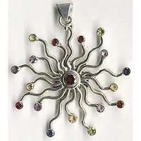 Multi Color Silver Pendant