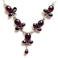 Red Stone Silver Necklace