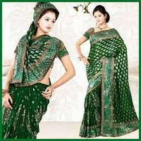 Deep Green Faux Georgette Saree With Blouse