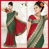 Deep Green Viscose Lehenga Style Saree With Blouse