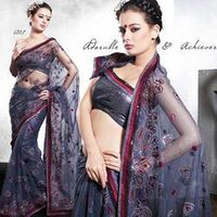 Deep Grey Viscose Saree With Blouse