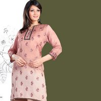 Onion Pink Cotton Silk Embroidered Tunic