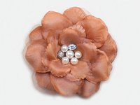 Handmade Chiffon And Satin Flower With Beads