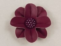 Handmade Jeweled Faux Leather Flower With Button