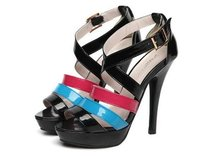 Fashionable Color Matching Candy Color Sandals CZ-0525 Black