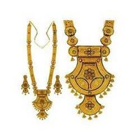Gold Minakari Stone Patta-Haar Necklace Set