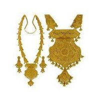 Gold Handmade Patta-Haar Necklace Set
