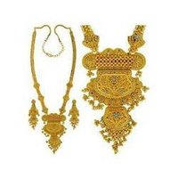 Gold Two-Tone Ball Patta-Haar Necklace Set