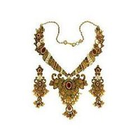 Designer Gold Antique Kundan Stone Necklace Set