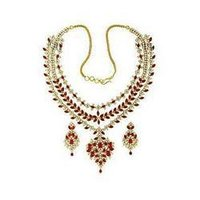 Exclusive Ruby & Cz Necklace Set