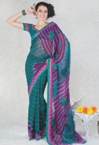 Green And Deep Faux Georgette Saree