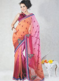 Peach Light Pink And Maroon Faux Chiffon Saree