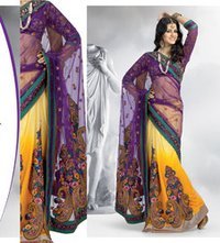 Yellow And Purple Net Saree