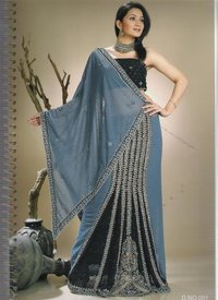 Designer Grey And Black Saree