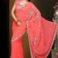 Stylish Pink Saree
