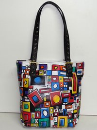 Hand Painted Leather Tote Bag