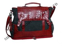 Croco Leather Canvas Bag