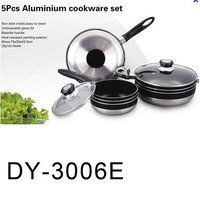 5 Pcs Aluminum Cookware Set With Glass Lid