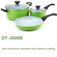 5 Pcs Aluminum Cookware With Ceramic Coating