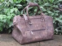Rare Crackled Leather Duffel Handmade Travel Bag
