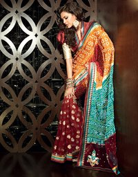 Divine Brick Red Deep Orange and Teal Blue Embroidered Saree