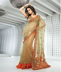 Dazzling Diva Beige Brown Embroidered Saree