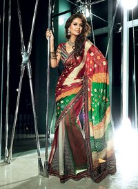 Divine Ash Gray Emerald Green Orange and Red Embroidered Saree