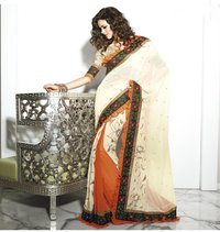 Aesthetic Butter Cream and Deep Orange Embroidered Saree