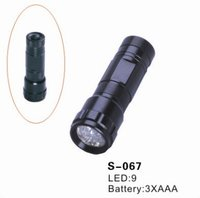 9 Pieces LED Flashlight Powered by 3*AAA Batteries