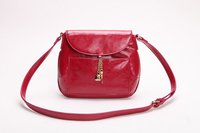 Patent Red Leather Messenger Chains Decoration Ladies Bags