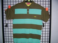 Mens Engineered Black And Green Stripe Polo T-shirt