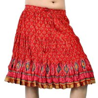 Red Girls Sanganeri Print Cotton Short Skirt