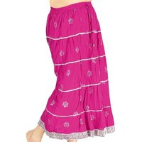 Jaipuri Design Midnight-Blue Cotton Long Skirt