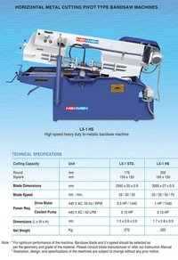 Horizontal Metal Cutting Pivot Type Bandsaw Machines