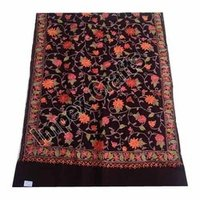 Black Printed Woolen Embroidered Scarves