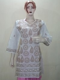 Lakhanavi Chikankari Cotton Kurtis
