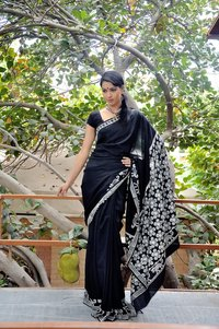 Silk Cotton Black Saree